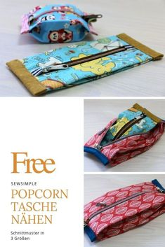 Sewing a popcorn bag: Pocket instructions with cute storage space Popcorn bag .- Popcorn Tasche nähen: Taschen-Anleitung mit süßem Stauraum Popcorn Tasche n… Sewing a popcorn bag: bag instructions with cute … - Sewing Tutorials, Sewing Projects, Couture Cuir, Pochette Diy, Popcorn Bags, Diy Handbag, Patchwork Bags, No Foundation Makeup, Zipper Pouch