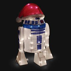 Now you can have your own almost life-size companion to set you on your own adventure with this Star Wars R2-D2 Lighted Indoor/Outdoor Lawn Ornament. Bedecked in his festive Santa hat, this R2 unit ships almost flat, but still almost ready to go.