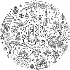 Hand drawn Christmas doodles for cards, banners, set of vector design… Christmas Doodles, Christmas Coloring Pages, Christmas Drawing, Christmas Clipart, Coloring Book Pages, Coloring Sheets, Adult Coloring, Christmas Colors, Kids Christmas