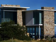 Eco Outdoor Alpine drystone walling used for contemporary house exterior, design…
