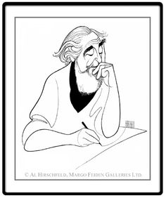 "Al Hirschfeld: Self Portrait At 98  Hand signed by Al Hirschfeld  Limited-Edition Lithograph  Edition Size: 298.  27"" x 21"""