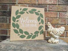 Burlap leaf wreath sign, 12X12 burlap canvas sign, leaf wreath sign, Welcome sign, Welcome to our home sign, Rustic burlap sign, Burlap leaf by Instinct2create on Etsy