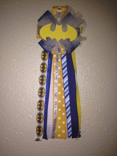 Batman Baby Shower Corsage by HeartofANGUIANO on Etsy, $19.25 gotta get this for Jordan to wear at the shower