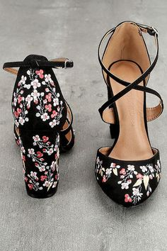 The Lottie Black Embroidered Ankle Strap Heels are the fun, floral heels you have been searching for! Black vegan suede shapes an embroidered almond toe upper, and adjustable crisscrossing ankle strap with silver buckle. Matching embroidered block heel an Floral Heels, Lace Up Heels, Ankle Strap Heels, Ankle Straps, Pumps Heels, Stiletto Heels, Silver Heels, Black Heels, Black Formal Shoes