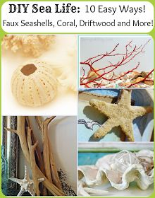 DIY Sea Life: 10 easy ways to make faux seashells, coral, driftwood, and more! Oh, look, easy, cheap, eco-friendly sea life, because real coral is extremely destructive and fishing practices aren't ideal. Seashell Crafts, Beach Crafts, Diy And Crafts, Arts And Crafts, Summer Crafts, Ocean Crafts, Decoration St Valentin, Hamptons Decor, Diy Inspiration