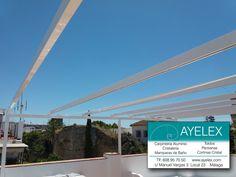 Instalación de 2 Toldos Palillería vista en tejido Standard color Blanco, estructura tipo Pergola en aluminio y tejadillo para salvaguardar los toldos, todos los herrajes y estructura lacada en blanco. www.ayelex.com. Centro Histórico Marbella (Málaga) 18/06/2016