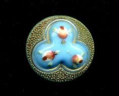 Pretty Little Antique Div. I Glass Button....Turquoise with Enamel Pink Roses in Antiques, Sewing (Pre-1930), Buttons | eBay