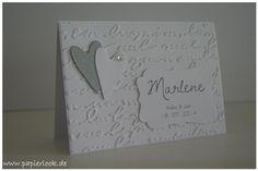 ~ Tischkarten zur Hochzeit Herzen silber/ weiß ~