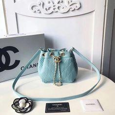 4ffa15130e Chanel Coco Pleats Calfskin Mini Drawstring Bag A91757 Jade 2018  #Chanelhandbags Sac À Main,