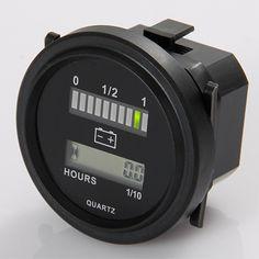 Round lcd hour meter with led battery indicator Gauge Gauge 12V 24V 36V 48V 72V for golf car tractor sweeper