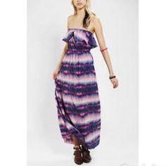 Band Of Gypsies Ruffle Top Maxi Tie Dye Dress