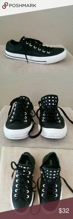 Black studded Converse low double tongue size 7 Converse Chuck Taylor all star sneakers, size 7, black, double tongue, studded, some fading, see pics, Converse Shoes Sneakers