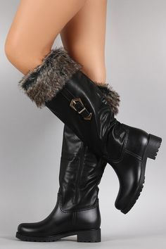 Free SH & Easy Returns! Shop Buckled Faux Fur Cuff Knee High Rain Boots. These rain boots feature a vegan leather/PVC upper, fur cuff, lug sole, and block heel.
