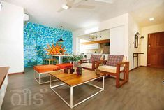 Small living room, aqua wall mural - By Shaji Vempandan Aqua Walls, Indian Living Rooms, Apartment Projects, Eclectic Style, Wall Murals, Flooring, Interior Design, House Styles, Table