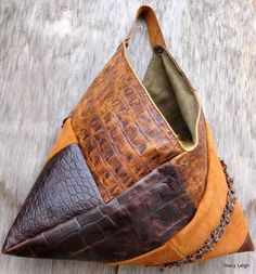 Leather Patchwork Triangle Hobo Bag