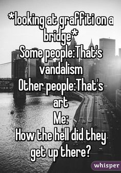 *looking at graffiti on a bridge*  Some people: That's vandalism  Other people: That's art  Me: How the hell did they get up there?