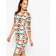 Club L Textured Midi Dress in Chevron Stripe (£18) ❤ liked on Polyvore featuring dresses, cream, mid calf dresses, calf length dresses, chevron dress, white bodycon dress and bodycon midi dress