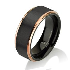 Wedding Bands Classic Bands Flat Bands w//Edge Stainless Steel 8mm Black IP-plated Brushed Center//Polished Edges Band Size 8.5