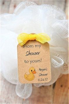 From my shower to yours kraft baby shower pouf party favors with adorable little duck! www.kendollmade.com