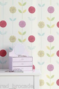 Girls Bedroom Nursery Floral Feature Wallpaper Pink Teal Shabby Chic Green  Retro | EBay