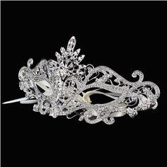 Women Princess Silver Gold Plated Venetian Masquerade Party Evening Crystal Cosplay Mardi Gras Face Masks