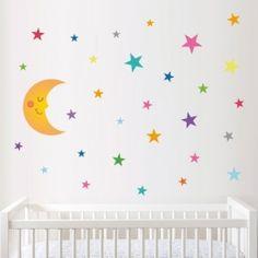 Luna de confeti con estrellas - Vinilos infantiles