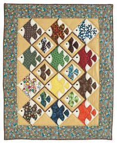 cute little fish - one large drunkard's path block & 5 smaller ones Linda idea para la senda del borracho