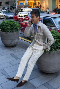 Triple linen threat Sand Linen Safari Jacket - The Armoury x Ascot Chang (available at The Armoury)Cream Linen Trousers - Salvatore Ambrosi ...