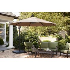 Shop Garden Treasures Red Offset Patio Umbrella Common 105ft W