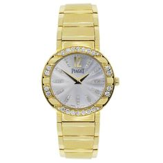 Piaget Lady's Yellow Gold Diamond Bezel Quartz Polo Wristwatch | From a unique collection of vintage jewelry at https://www.1stdibs.com/jewelry/jewelry/jewelry/