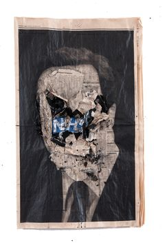 kennardphillipps Study of a Head VII pigment ink and mixed media on newspaper, framed in bespoke hand made black box frame, 36 x 68 cm (unframed) Political Art, Political Events, A Level Textiles, Protest Art, Social Art, A Level Art, Gcse Art, Art Themes, Photography Projects