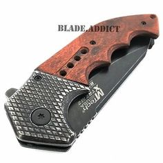 "9"" SPRING ASSISTED OPEN Tactical Blade Folding POCKET KNIFE Wood Steampunk"
