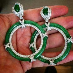 Jade in the shade.... #davidwebb #platinum #diamond #jade hoop #earrings @davidwebbjewels