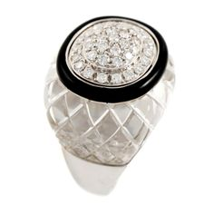 DAVID WEBB White Gold Rock Crystal Diamond and Enamel Dome Ring