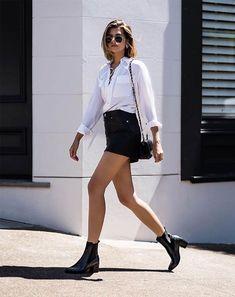 Talisa Sutton - camisa-saia-couro-bota - saia couro - meia estação - street style