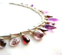 Multi Gemstone Statement Bib Necklace Purple themed gemstones Huge SALE Beginning Thanksgiving Day Shop small and Shop local Alaska 907