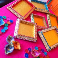 Beautiful gift trays all hand decorated in many different colours. See my Facebook page www.facebook.com/mehnditraysforfun for more inspirational ideas for your mehndi or wedding.