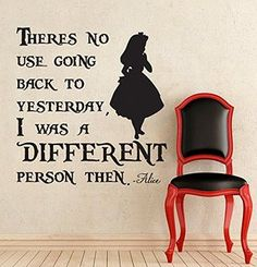 """Alice In Wonderland /""""The madness got to you too./"""" silver vinyl decal"""