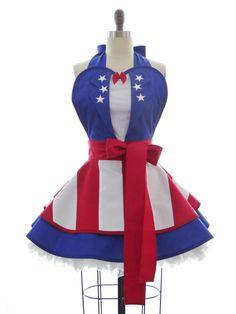 Retro Apron - USO Captain America Costume Apron - 4th of July - Kitchen…