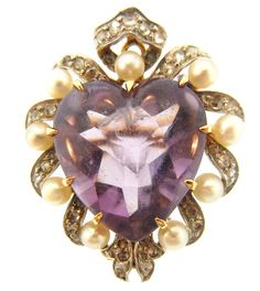 Antique Edwardian Amethyst, Diamond, Pearl And Gold Brooch/Pendant