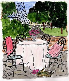 Courtyard near La Tour Eiffel by Fifi Flowers on Etsy ... PRINT and CARD available