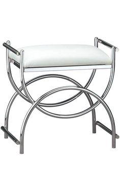 $103 Curve Chrome Vanity Bench - Vanity Stools - Bedroom Furniture - Furniture | #HomeDecorators