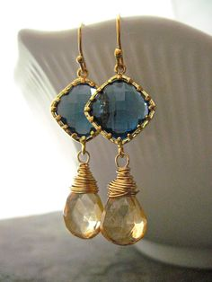 Champagne Quartz and Bezel Set Blue Glass Wire by NellBelleDesigns, $36.00