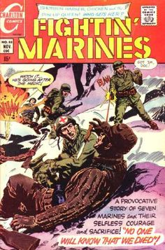 Fightin Marines - Charlton Comics - A Provactive Story Of 7 Marines - Shotgun Harker Chicken And The Pin- Up Queen Who Gets Her - Marines Comic