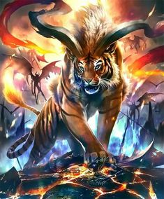 Art Discover art Tigers al .art Tigers all around. Mystical Animals, Mythical Creatures Art, Mythological Creatures, Magical Creatures, Dark Fantasy Art, Fantasy Artwork, Creature Drawings, Animal Drawings, Wolf Drawings