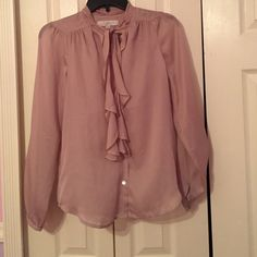 Loft blouse. Very delicate and beautiful Loft blush pink blouse. Very delucate and beautiful. Ties at top LOFT Tops Button Down Shirts
