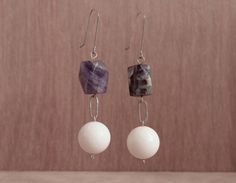 Sterling silver , amethyst and white coral earrings by Goldie Higgins