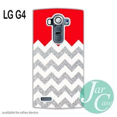 Red Silver Glitter Chevron Phone case for LG G4
