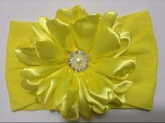 Flor amarilla de pétalos en tela de razo VIDEO No. 336 - YouTube