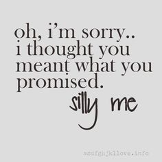 Silly me. I thought you cared. You never lived up to things you said. You told me that you'd never leave. But silly me. Now Quotes, Break Up Quotes, Life Quotes Love, Great Quotes, Quotes To Live By, Funny Quotes, Inspirational Quotes, Promise Quotes, Not Giving Up Quotes